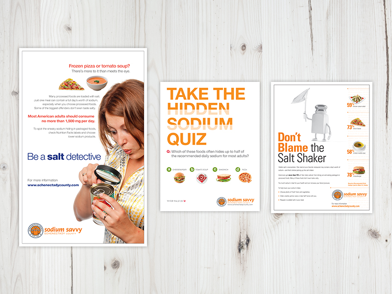 Palladian designed a poster series for Schenectady County, New York, to encourage residents to become salt detectives and consider sources of sodium other than the salt shaker.