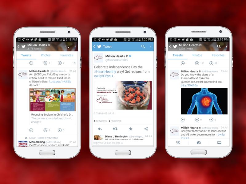 Palladian expanded Million Hearts<sup>®</sup> social media content in key areas, including nutrition, women's health, and stroke.