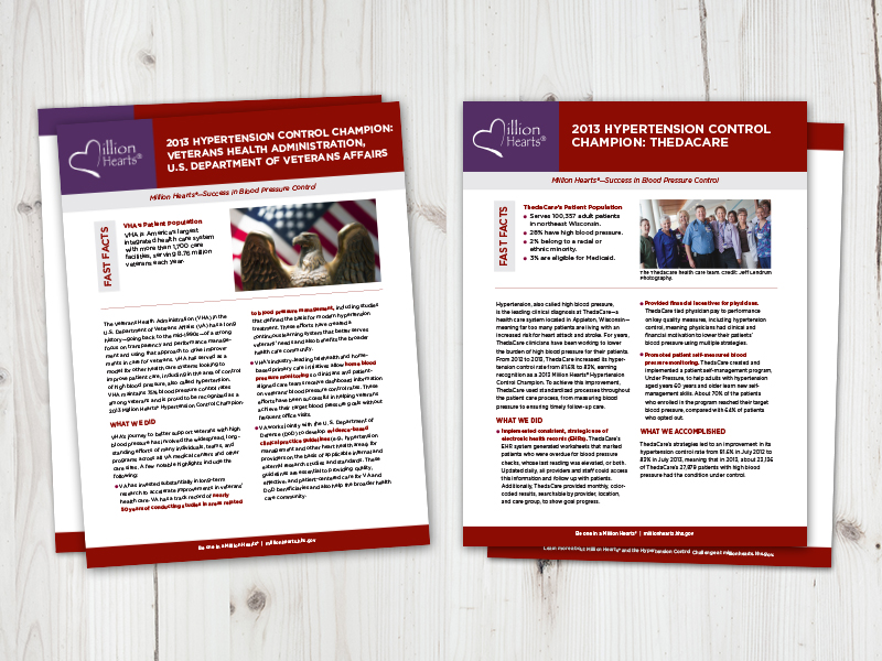 Palladian created success stories to showcase Million Hearts® Hypertension Control Champions.