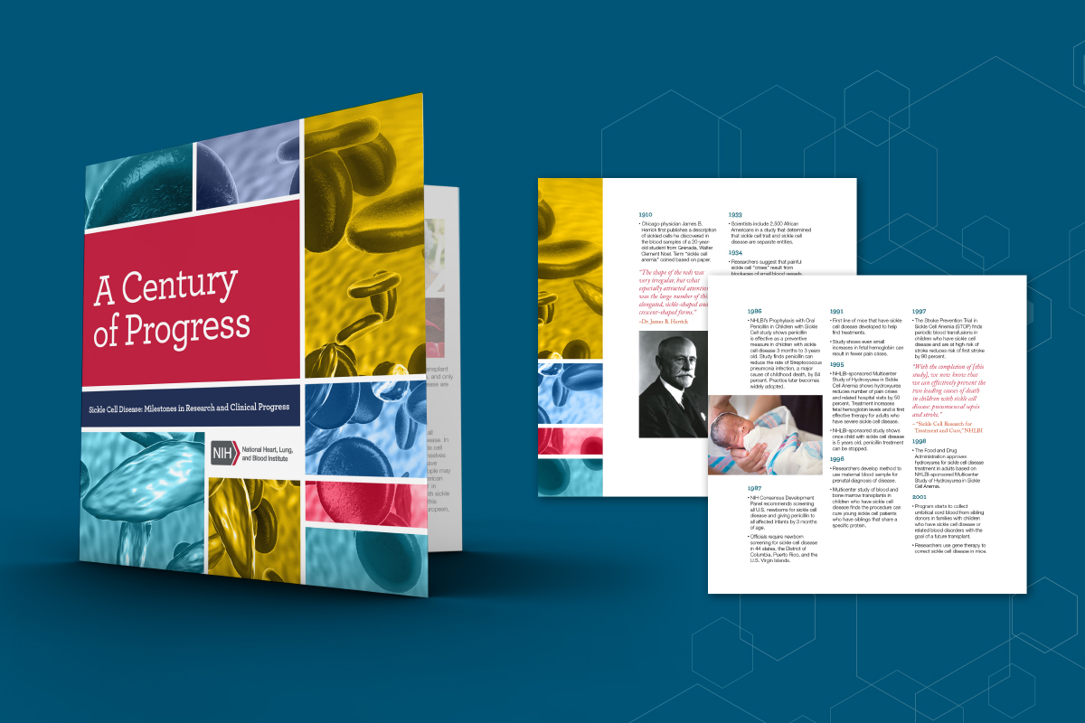Example of A Centry of Progress booklet created for NHLBI Sickle Cell program
