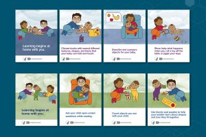 Eight info cards created for NICHD on early childhood learning